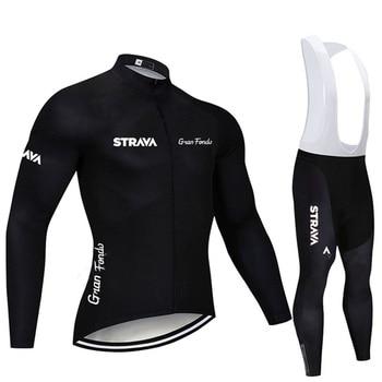 2019 strava outono manga longa camisa de ciclismo conjunto bib calças ropa ciclismo roupas de bicicleta mtb camisa uniforme roupas masculinas 22