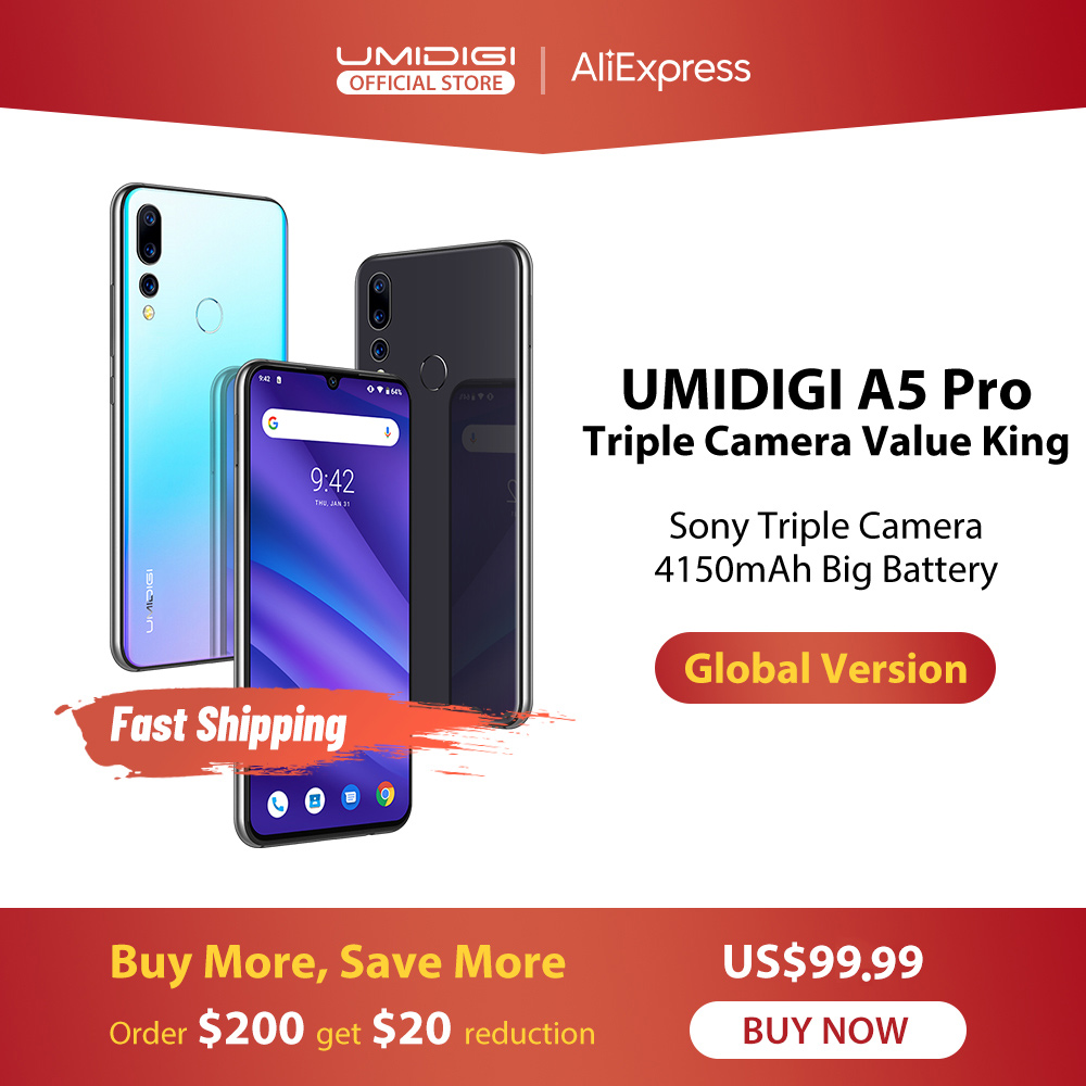 UMIDIGI A5 PRO Android 9.0 Global Bands 16MP Triple Camera Octa Core 6.3' FHD+ Waterdrop Screen 4150mAh 4GB+32GB Mobile Phone