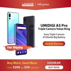 Umidigi A5 Pro Android Toàn Cầu Năm 9.0 Ban Nhạc 16MP Ba Camera Octa Core 6.3 'FHD + Waterdrop Màn Hình 4150 MAh 4GB + 32GB Điện Thoại Di Động