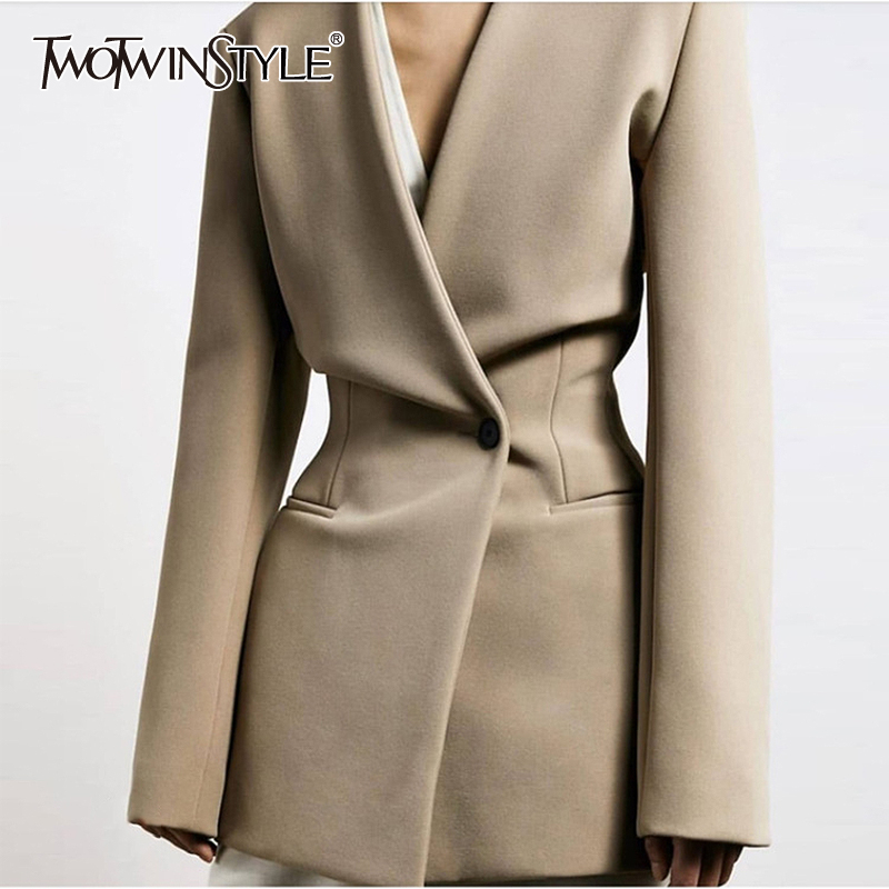 TWOTWINSTYLE Casual Minimalist Style Women Blazer V Neck Long Sleeve High Wiast Tunic Slim Suit For Female Fashion 2020 Clothing