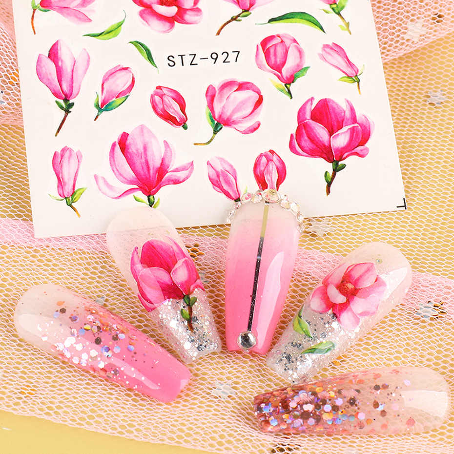 24 stücke Geprägte Blossom Blume Nagel Wasser Transfer Aufkleber Rose Blatt Aufkleber Sommer Nagel Kunst Dekoration Maniküre SASTZ922-957