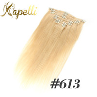 Brazilian Remy Straight Hair Clip In Human Hair Extensions #60 Blonde 613 7 Pieces/Set Full Head Sets 120G Clips In Bundles