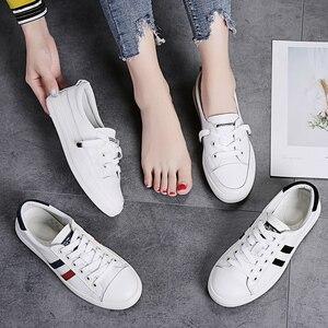 Image 5 - STQ Outono Mulheres Apartamentos Sapatilhas Sapatos Das Senhoras Lace up Sapatos Casuais PU Sapatos de Couro Mulheres Sapatos Casuais Sapatos Brancos Tênis 768