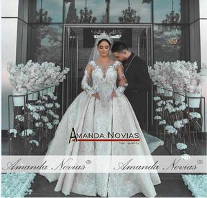 Image 3 - 2021 แชมเปญหรูลูกไม้ชุดแต่งงานเงารถไฟCathedralชุดแต่งงาน