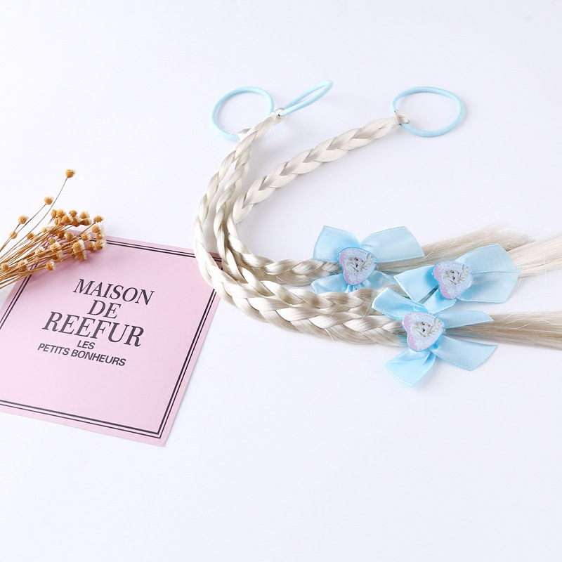 1 Pcs Girls Frozen Elsa Cartoon Wigs Ponytail Hair  Headbands Rubber Beauty Fashion Toys Hair Bands Headwear  Hair Decoration