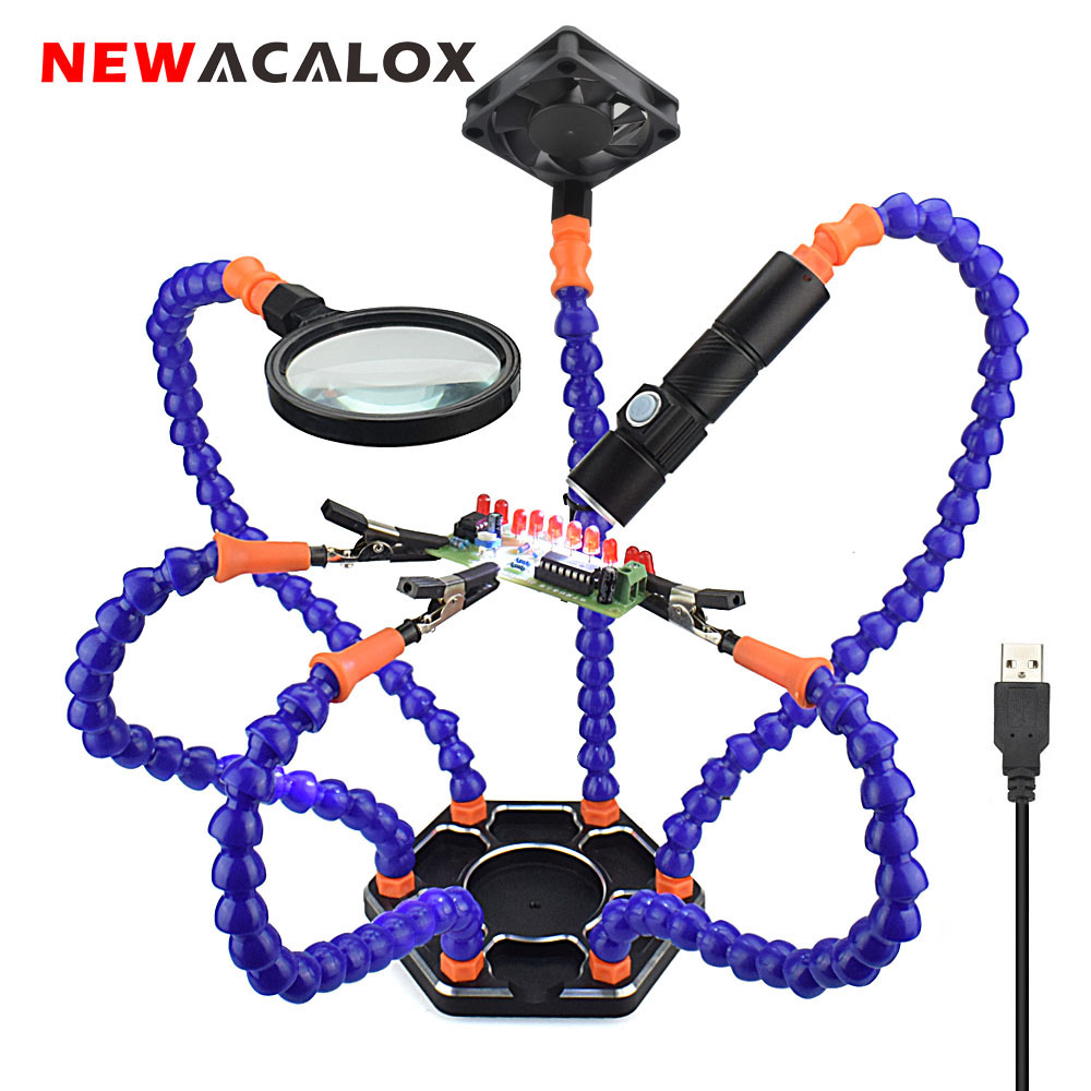 NEWACALOX Multi Soldering Helping Hand Third Hand Tool 3X Magnifying USB DC Fan Flashlight Magnifier PCB Welding Repair Station