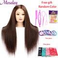 Bunte Puppe Kopf mit 60% gemischt 60cm menschliches haar Für Friseure Mannequin Kopf Frisuren Friseur Styling Ausbildung Kopf