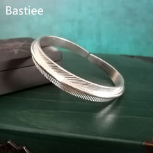 Bastiee Feather 999 Silver Bangle For Women Bracelet Vintage Hmong Handmade Luxury Jewelry Ethnic Jewellery Bangles Adjustable uglyless real 999 silver fine jewelry women simple fashion thick bangles ethnic fish open bangle handmade engraved lotus bijoux