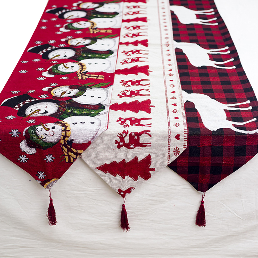 180*35cm Christmas Table Runner Cotton Embroidered Deer Christmas Tree Tablecloth Home Party Wedding Christmas Table Decoration