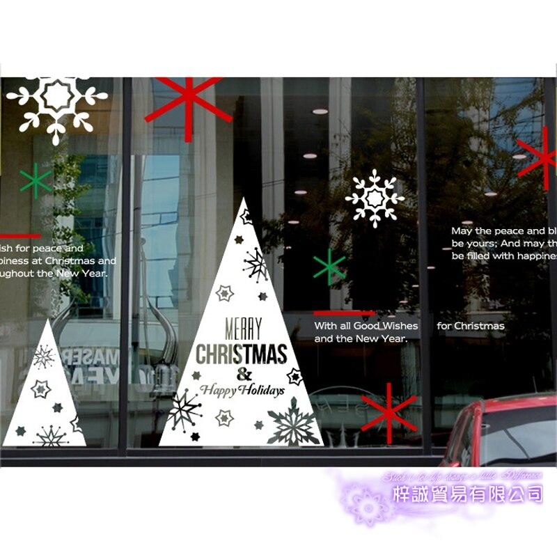 Grand autocollant de noël X mas décalcomanie affiches vinyle stickers muraux décor Mural verre boutique fenêtre décoration de la maison - 3
