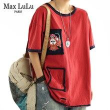 Max LuLu 2021 Summer Korean Fashion Clothing Women Holes Spliced Tshirt Ladies O-Neck Red Tees Female Printed Oversized Tops