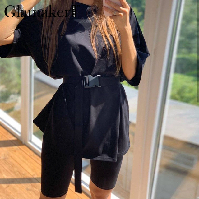 Glamaker Summer casual two piece set top and pants women sets short sleeve fashion loose outfits shorts suit 2020 female co ord 3