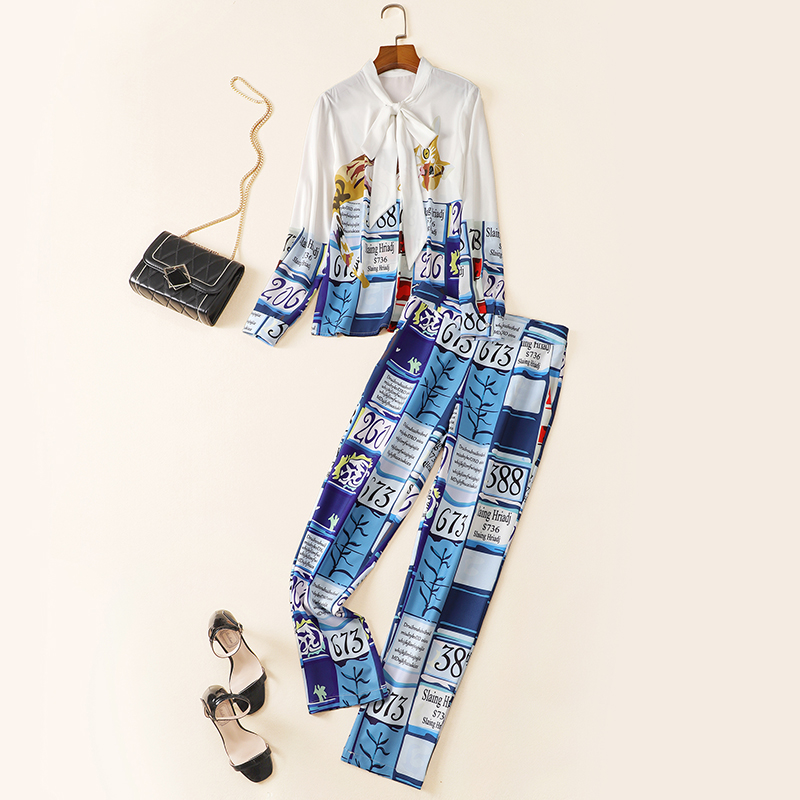 New set 2020 spring and summer women s European and American personalized Leggings printing fashion suit