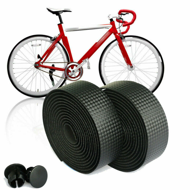 2x Bike Cycling Road Bike Sports Bicycle Cork Handlebar Rubber Tape Wrap+2 Bar