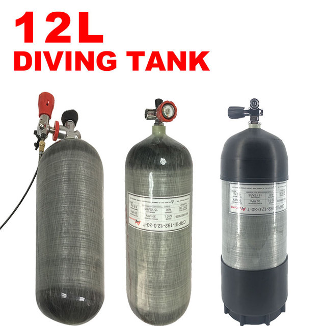Acecare 12L Scuba Tank 4500psi 300bar 30Mpa HPA Carbon Fiber Cylinder for Diving with Gauge Valve 12L Rubber Protection Cover