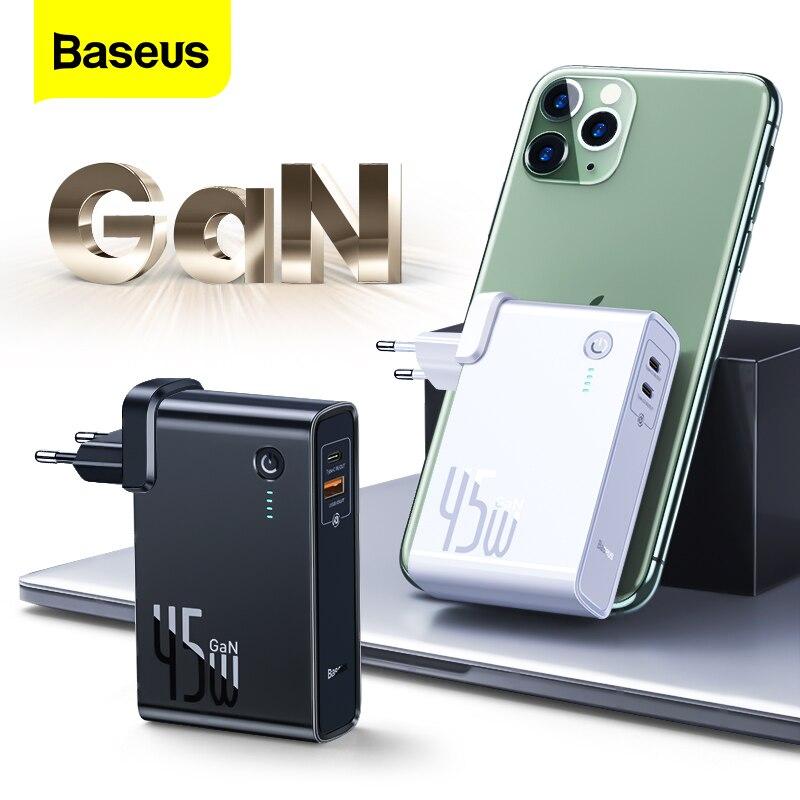 Baseus GaN 45w batterie dalimentation 10000mAh Type C PD chargeur rapide USB Powerbank chargeur de batterie externe Portable pour iPhone 11 Xiaomi