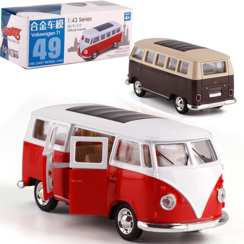 1:43 Volkswagen Bus T1 Alloy Pull-back Vehicle Model Metal Model Car Model Buses For Boy Toy Collection Kids Birthday Gifts