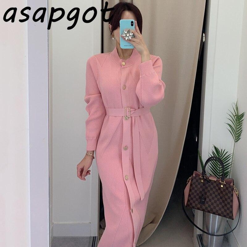 Asapgot OL шикарное корейское осеннее однобортное тонкое длинное розовое трикотажное платье с поясом, женские модные свитера белого и черного цвета|Платья|   | АлиЭкспресс
