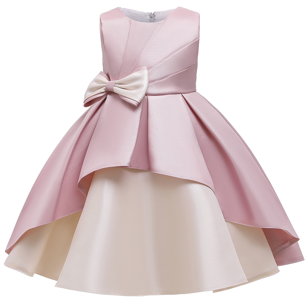 New Summer Girl Dresses Big Bow Formal Elegant Wedding Gown Tutu Princess Dress Flower Girls Kids Party Dress For Girls Costume