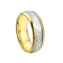 8mm Men's wedding band Tungsten Carbide Rings for couples gold color fashion meteorolite Jewelry finger ring women(China)