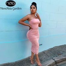 NewAsia 2 warstwy kobiety długa sukienka Bodycon Midi seksowna sukienka elegancka impreza klub sukienki Off ramię Ruched ołówek sukienka różowa szata