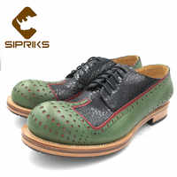 Sipriks Luxury Unique Design Mens Casual Leather Shoes Green Black Wingtip Dress Shoes Full Brogues Double Leather Sole Suits 44
