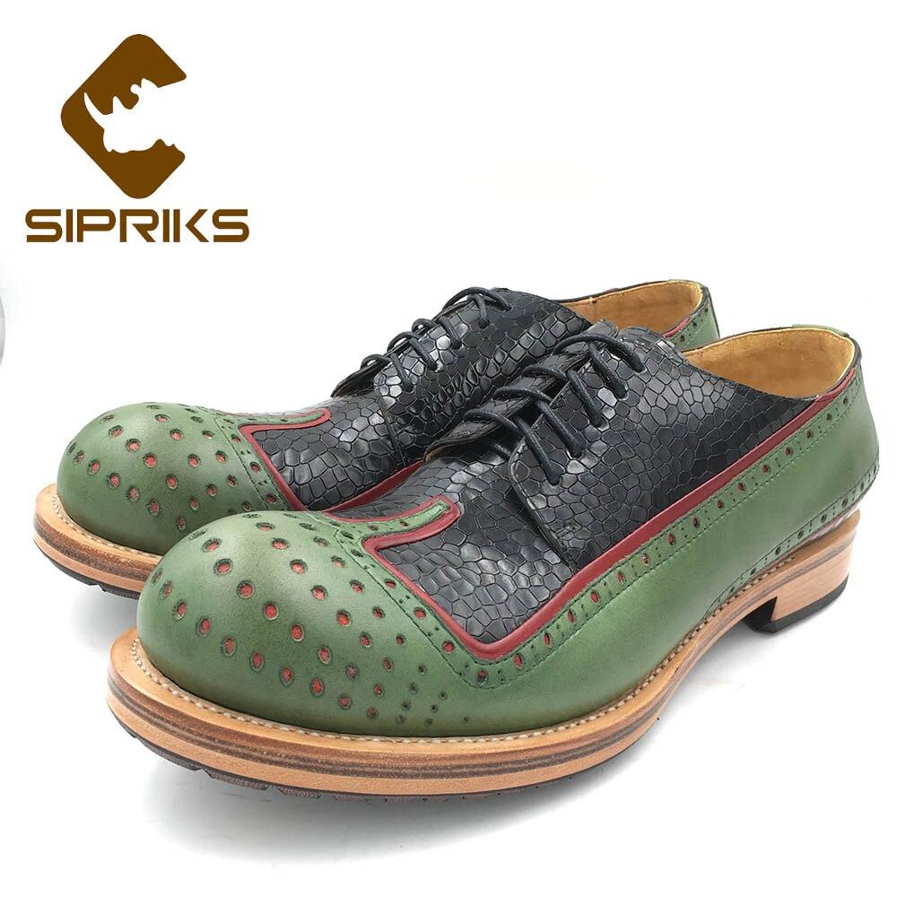 Sipriks lujo diseño único hombres zapatos de cuero Casual verde negro Wingtip vestido zapatos Full Brogues doble cuero SUELA trajes 44