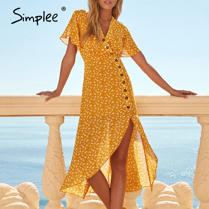 Simplee Bohemian V Neck Split Summer Dress Women Buttons Short Sleeve Flower Female Midi Dresses Holiday Beach Ladies Vestidos