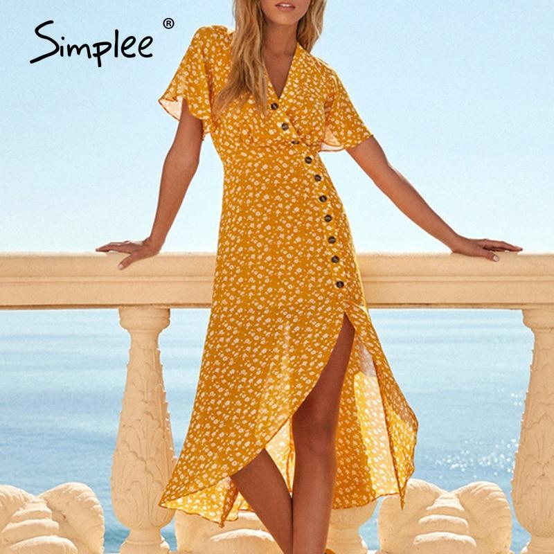 Simplee Bohemian V Neck Split Summer Dress Women Buttons Short Sleeve Flower Female Midi Dresses Holiday Beach Ladies Vestidos