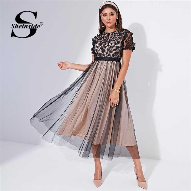 Sheinside Floral Applique Mesh Detail Party Dress Women 2019 Autumn Short Sleeve A Line Dresses Ladies Layered Mesh Midi Dress
