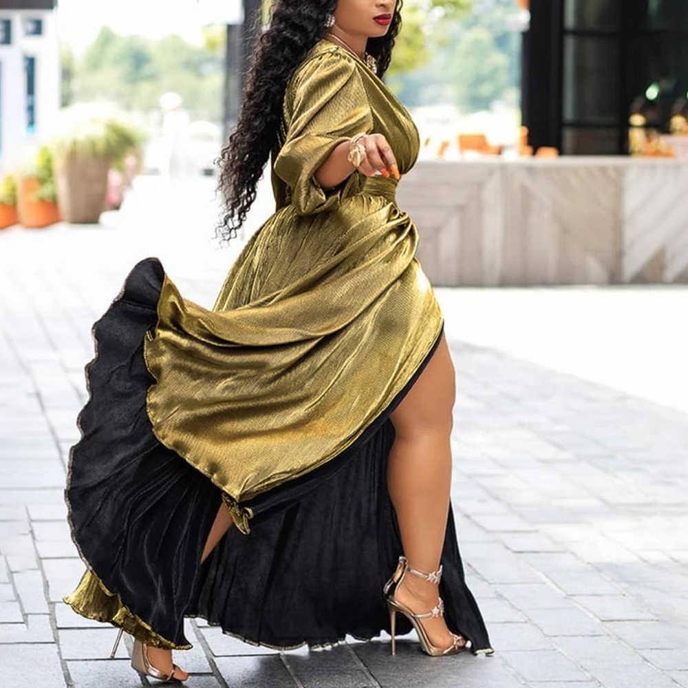 Роскошная обувь золотистого цвета с блестками Разделение V образным вырезом сексуальные вечерние платья Длинные Для женщин Высокая Талия Туника ночное Клубное платье с длинным рукавом Плиссированные Макси Платья на осень