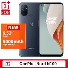 Versão global oneplus nord n100 telefone móvel 6.52 polegada 90hz snapdragon 460 octa núcleo rosto desbloquear 13mp triplo câmera android 10