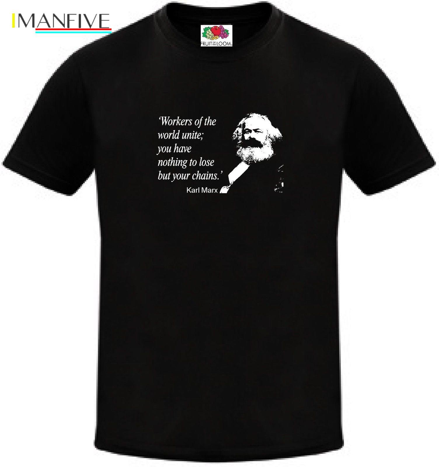 Brand T-Shirt Men 2019 Fashion Karl Marx Communist Party Socialist Politics Quote  Print Harajuku