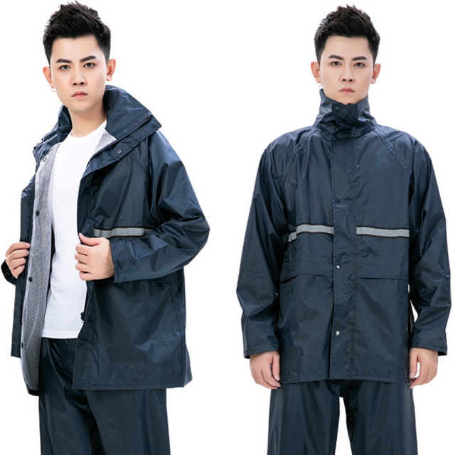 Adults Waterproof Men Raincoat Rain Pants Suit Motorcycle Riding Raincoat Jacket Double Black Rain Coat Clothes Impermeable Gift