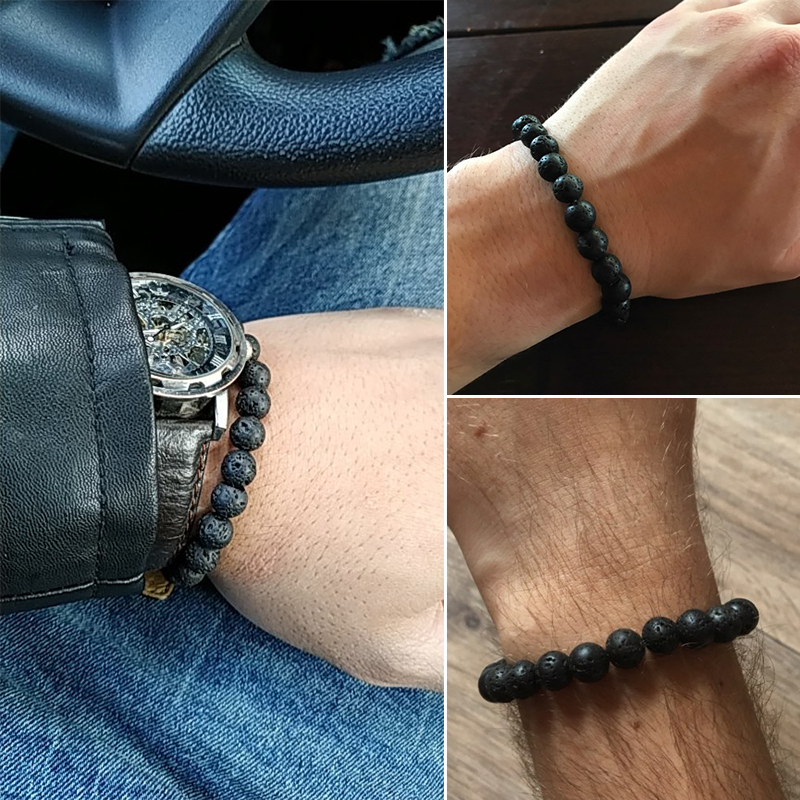 6mm 8mm 10mm Natural Volcanic Stone Beads Bracelets Black Lava Men Bracelet Aromatherapy Essential Oil Diffuser Bangle for Women 2