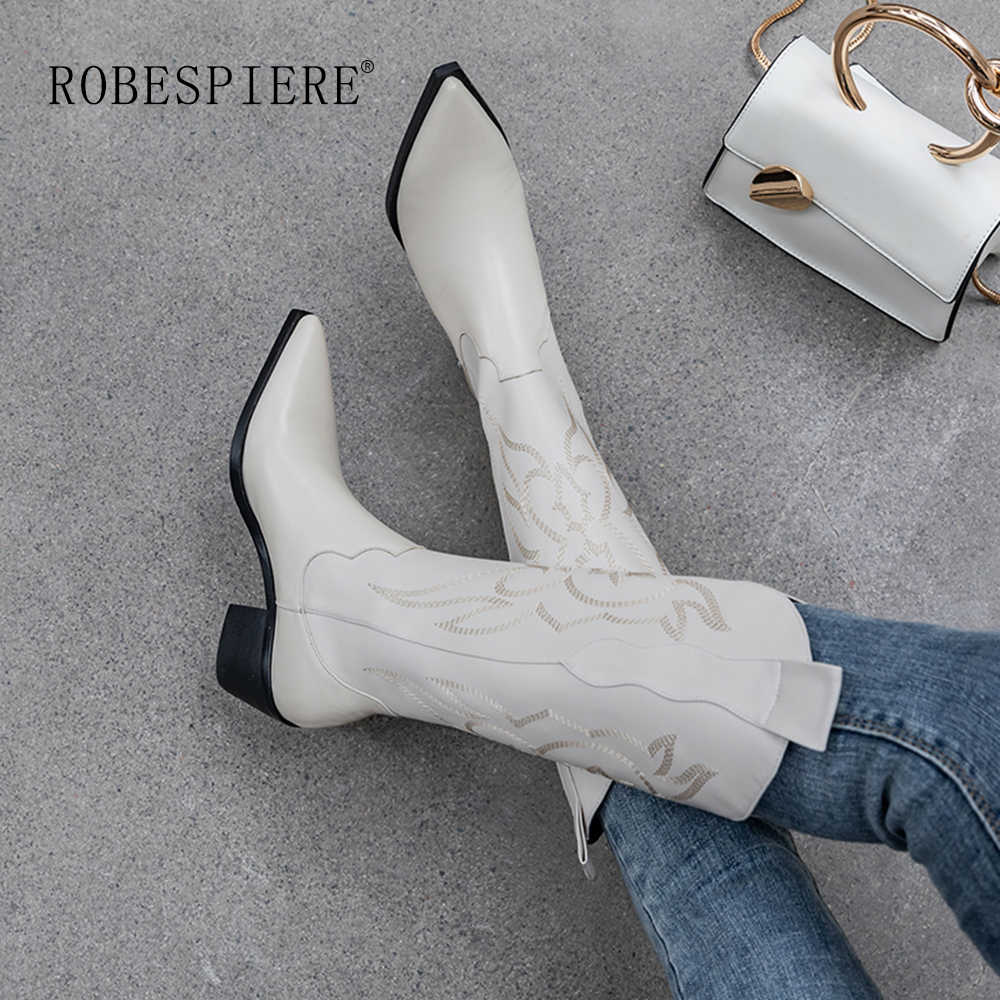 ROBESPIERE Embossed หนังรองเท้าผู้หญิง Pointed Toe คาวบอยตะวันตก Lady กลางลูกวัว Chunky Wedges รองเท้ารันเวย์ B112