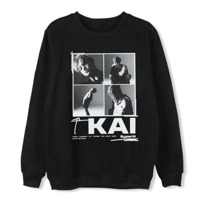 New Arrival SuperM Member Name/photo Printing Pullover Loose Hoodies Unisex Kpop Fleece/thin Black Sweatshirt