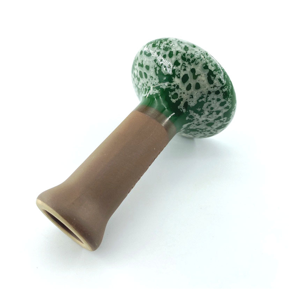 1pc Green reusable ripple Ceramic Bong Bowl Single Hole  Shisha Bowl Glaze Chicha Head For Glass Water Pipe Charcoal Holder 3