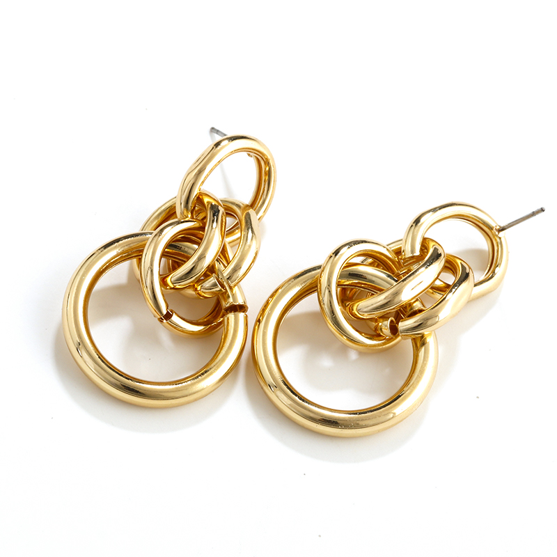 AENSOA Vintage Metal Long Twisted Dangle Earrings For Women Charm Gold Color Maxi Knot Statement Geometric Earring Party Jewelry