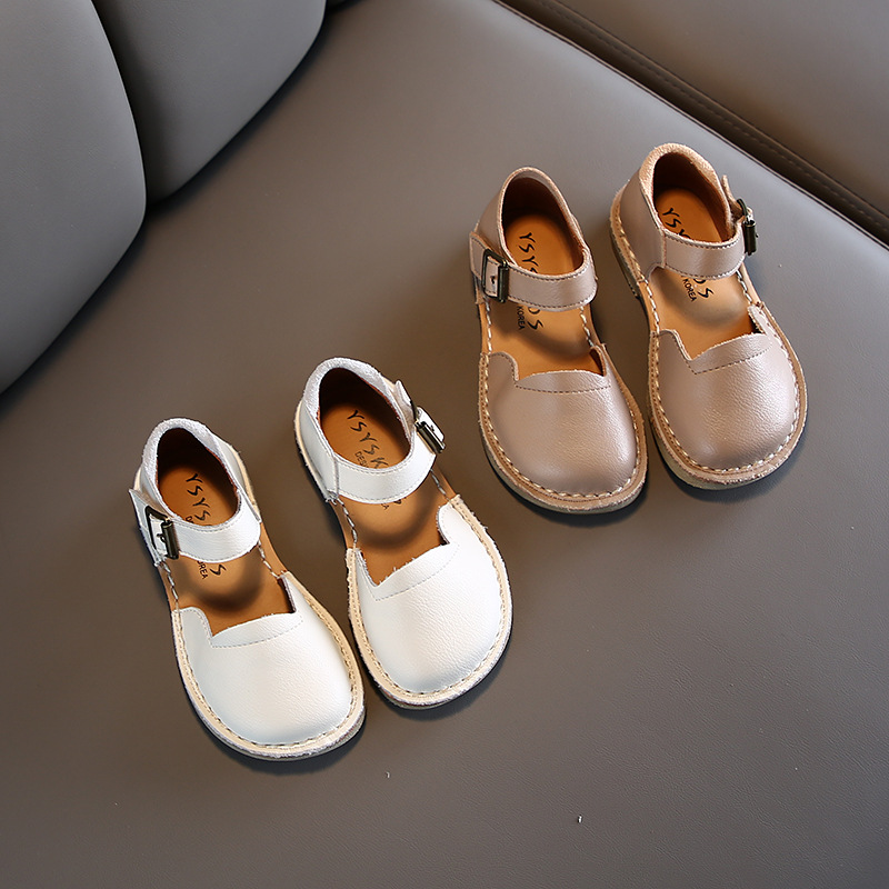Spring Genuine Leather Solid Color Children's Shoes Breathable Children's Shoes  Kids Summer Shoes For Girl
