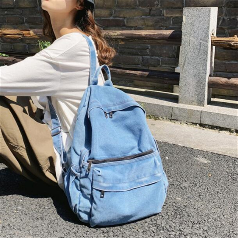 2020 Vintage Style Jeans Backpacks Bags Large Size School Bags Denim Travel Bags Kroean Style Bags Drop Shipping M759