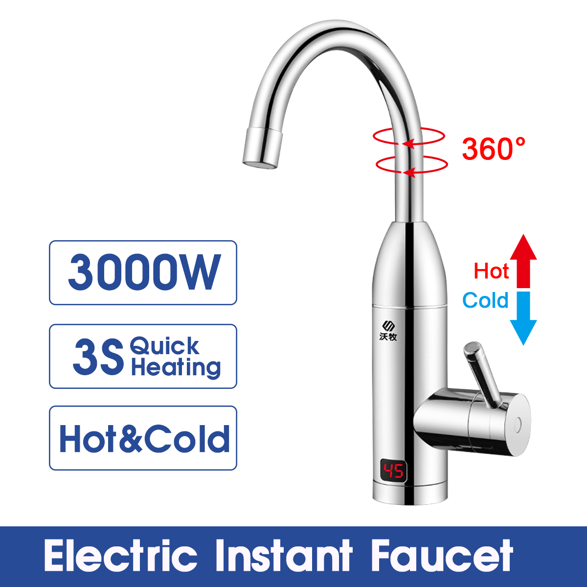 Electric Faucet Instant Water Heater Tap Faucet Heater Cold Heating Faucet Tankless Instantaneous Water Heater Kitchen Faucets