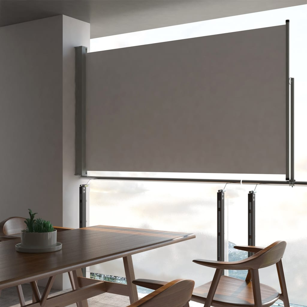 VidaXL Patio Retractable Side Awning 140 X 300 Cm Grey