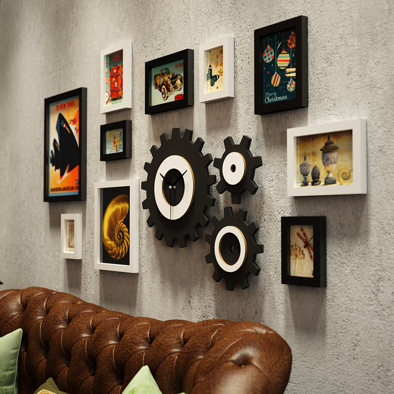 Американская фоторамка креативная фоторамка сочетание часов промышленная ветровая подвесная стена для гостиной фото Настенная роспись ук... - 5