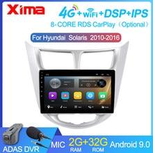 Xima 9 player player 2 din rádio android 9.0 player de vídeo do carro multimídia para hyundai solaris accent verna 2011-2016 navegação gps dvd