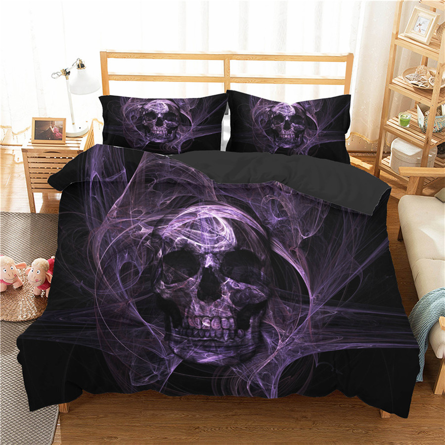 A Bedding Set 3D Printed Duvet Cover Bed Set Horror Skull Home Textiles For Adults Bedclothes With Pillowcase #KL66
