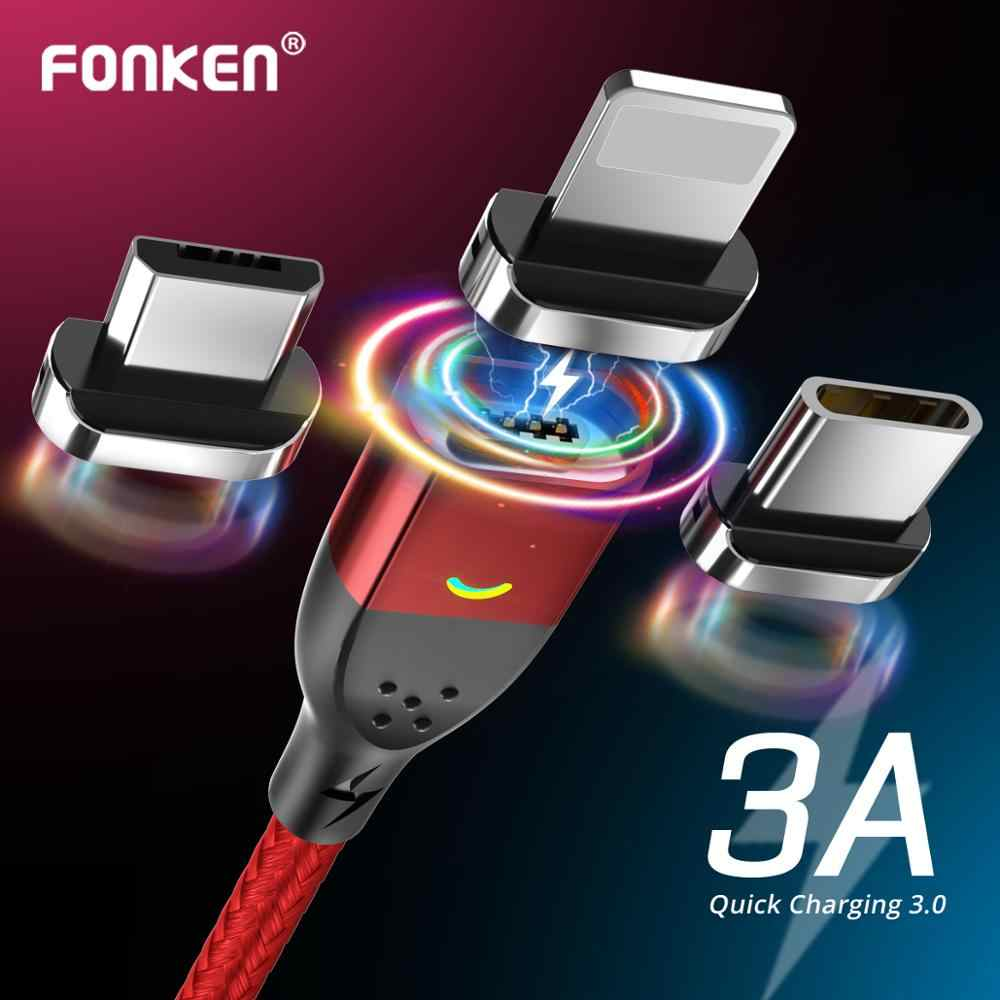 FONKEN Magnetische Kabel Micro USB Typ C Magnetic Charging Kabel Magnetische Ladegerät für iPhone Samsung Huawei Xiaomi Schnell Ladung