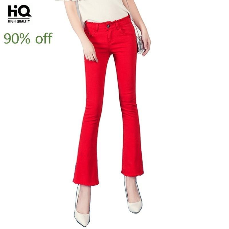 Spring New Red Tassel Jeans Woman Denim Cotton Stretch Flare Pants White Black Korean Slim Fit Jeans Femme Ankle-Length Pants