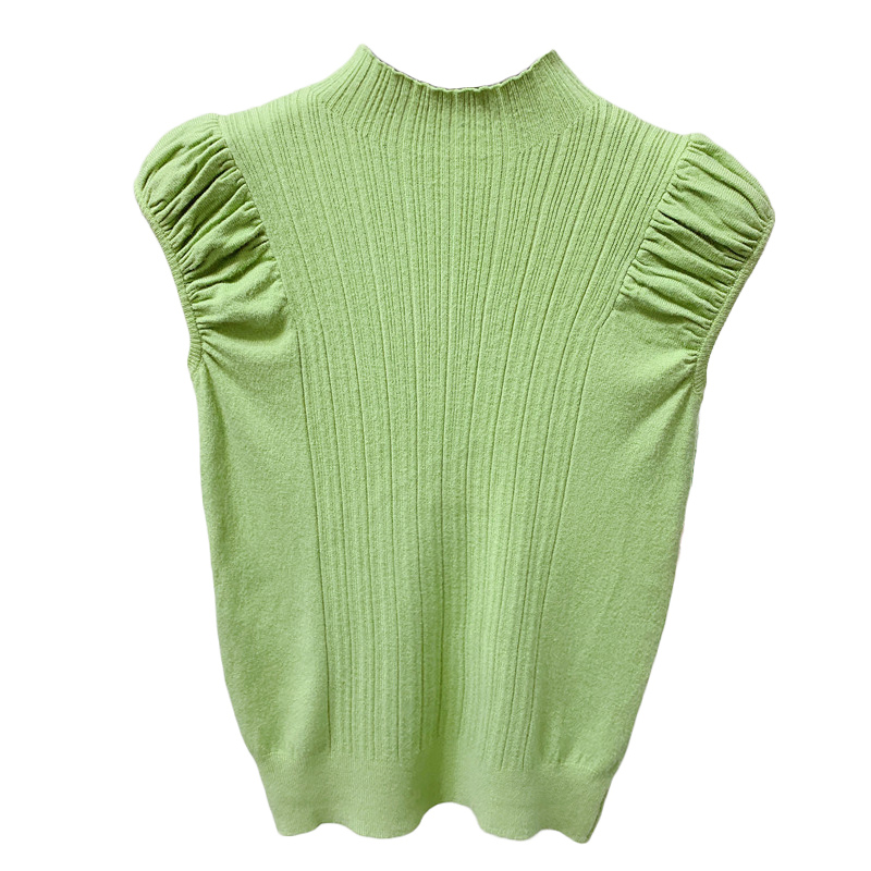 HELIAR Women Tank Tops Summer Knitted Turtleneck Tank Tops Ladies Sexy Slim Tops Female Puff Sleeve Casual Tops For Women Summer 5