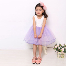2019 New Summer Cute Sleeveless Girls Clothes Lace Mesh Design Kids Princess Dress Pearl Girls Dress Party Dress for 2-9 Years